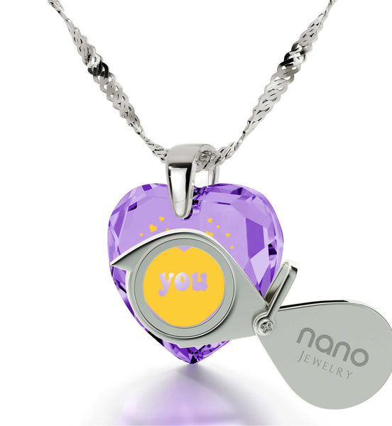 Great Valentines Gifts for Her, Purple Pendant, Meaningful Necklaces, Nano Jewelry