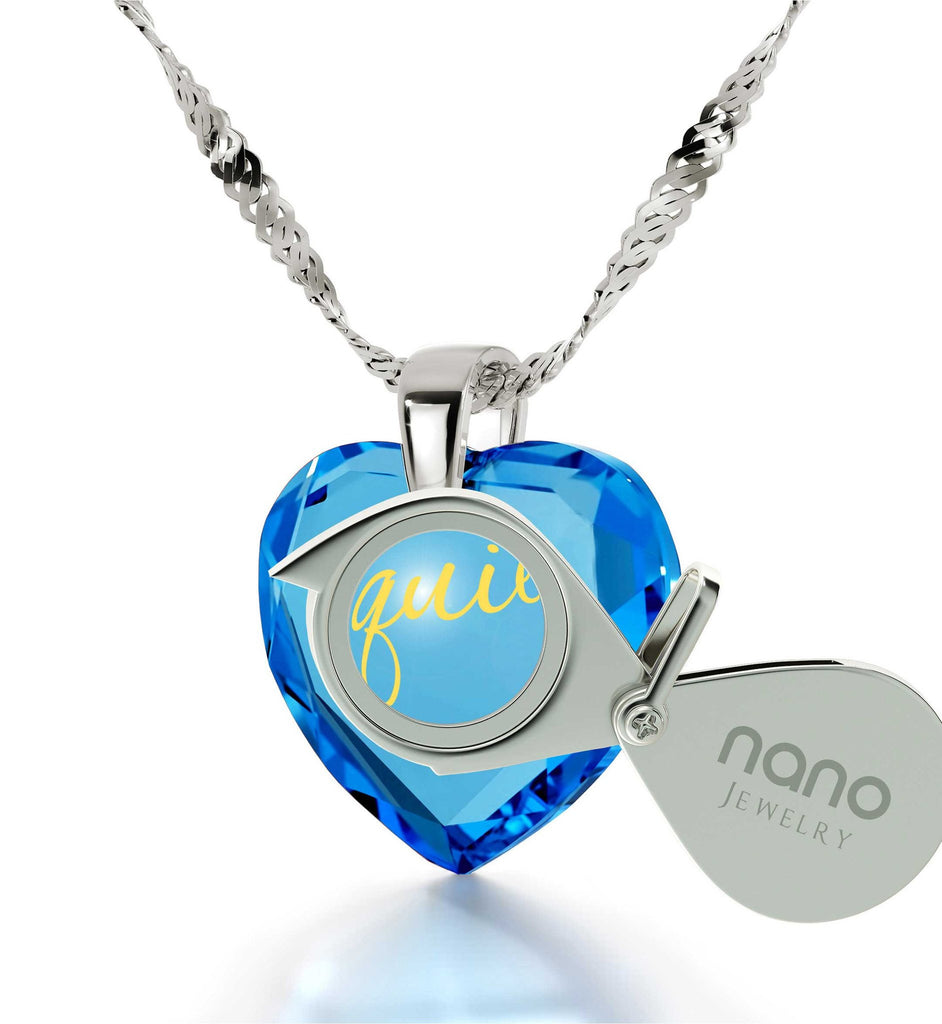 "Great Valentines Gifts for Her,""TeQuiero"", 24k Engraved Pendant, Love in Different Languages, Nano Jewelry"