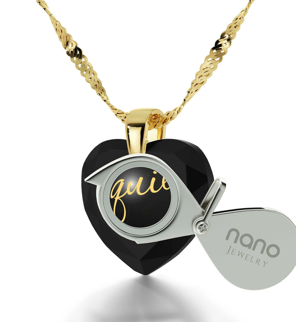 "Great Valentines Gifts for Her,""Te Quiero"", 24k Engraved Pendant, Love in Different Languages, Nano Jewelry"