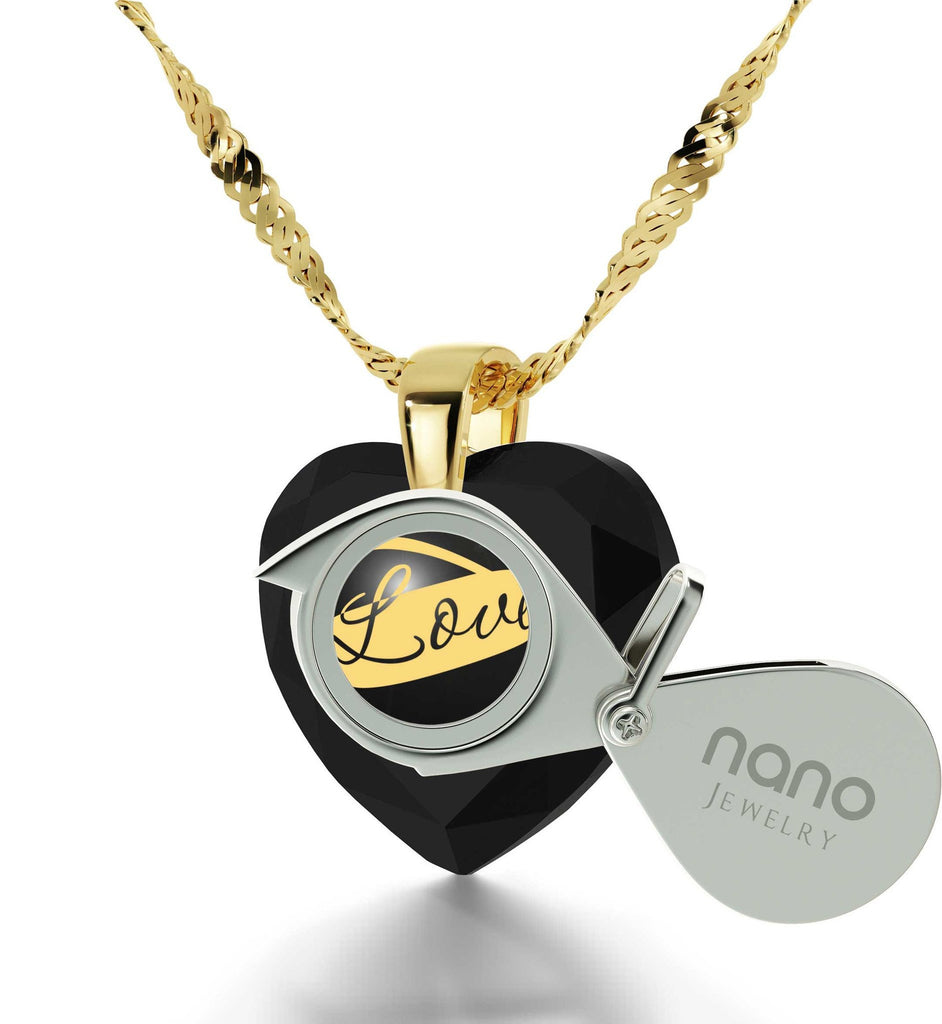 Heart Necklace for Girlfriend, 14k Gold Necklace, 24k Imprint,Valentine Gift for Wife, by Nano Jewelry