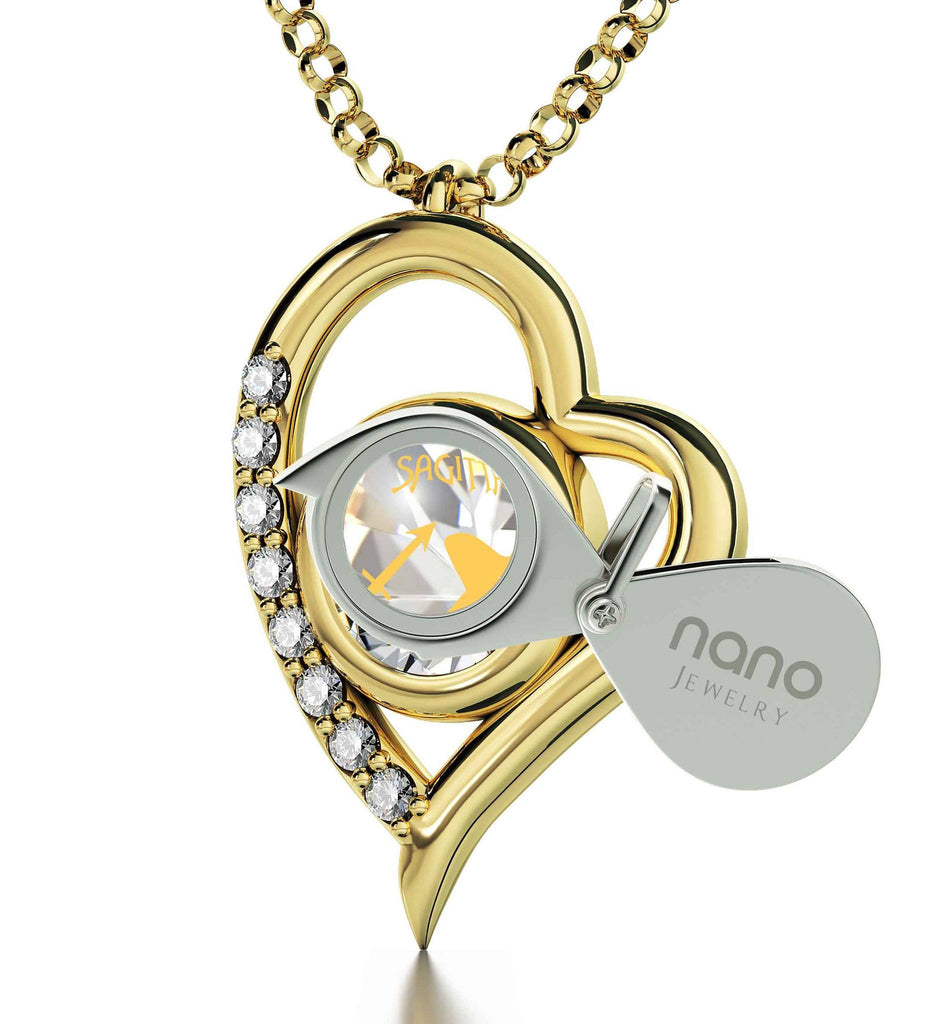 """Heart Necklace with Crystal Sagittarius Charm, Good Presents for Mom, Top Gifts for Wife, Nano Jewelry"""