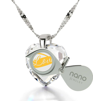 Heart Necklaces for Girlfriend, Crystal, Heart Shaped CZ Stone, Gift for Wife Anniversary, by Nano Jewelry