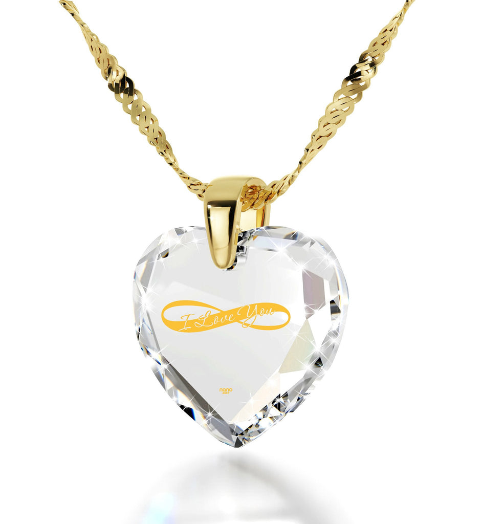 Heart Necklaces for Girlfriend, Crystal, Heart Shaped CZ Stone,Gift for Wife Anniversary,by Nano Jewelry