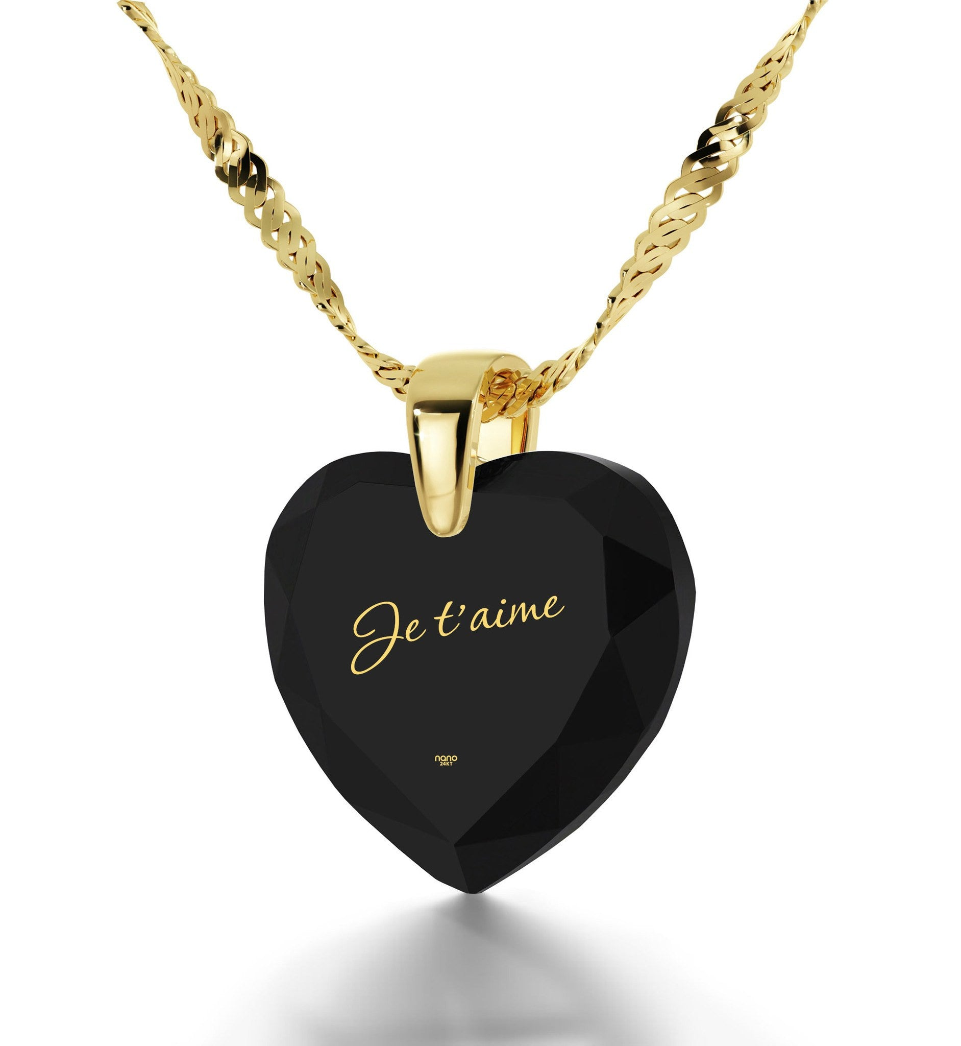 "Heart Necklaces for Girlfriend, CZ Jewelry,""Je T'aime"", Great Gifts for Wife, Nano"