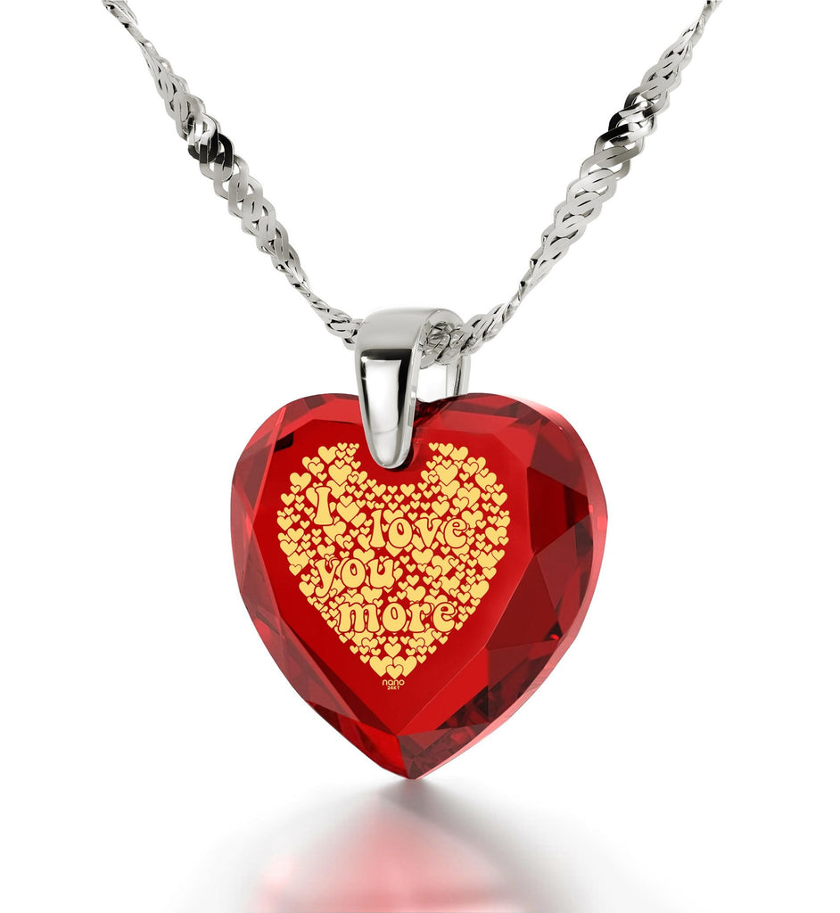 """Heart Necklaces for Girlfriend,""I Love You More"", 24k Imprint, Love Gifts for Wife, Nano Jewelry"""