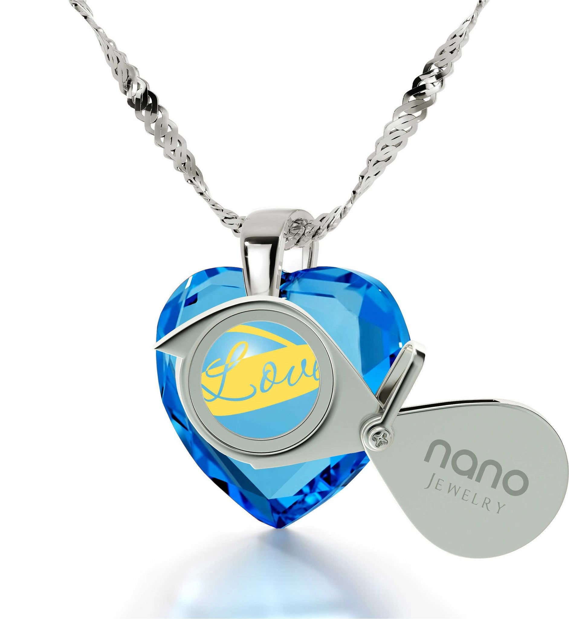 Heart Necklaces for Girlfriend, Sterling Silver Necklace, 24k Imprint,Pure Romance Products, by Nano Jewelry