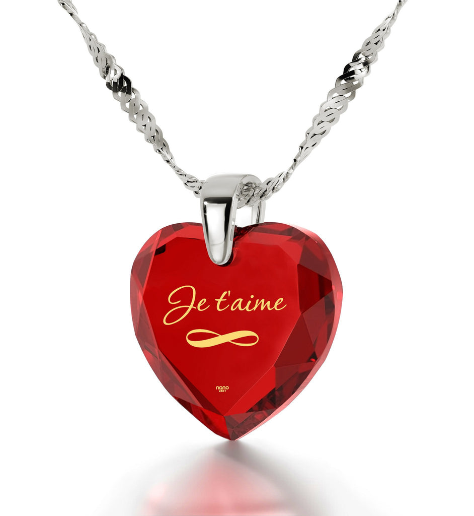 """How to Say ""I Love You"" in French? Valentine's Day Gift for Girlfriend, 14k Engraved Necklaces"""