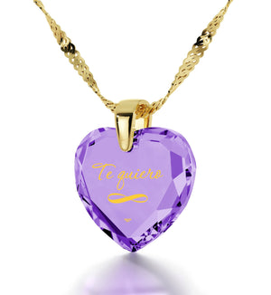 """How to Say ""I Love You"" in Spanish? ""TeQuiero"", Valentine's Gift for Her, CZ Jewelry"""