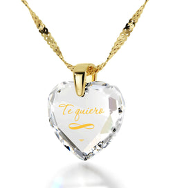 """ValentinesDayPresents,""TeQuiero"",""I Love You"" in Spanish,HeartNecklaceBirthdayPresentforGirlfriend"""