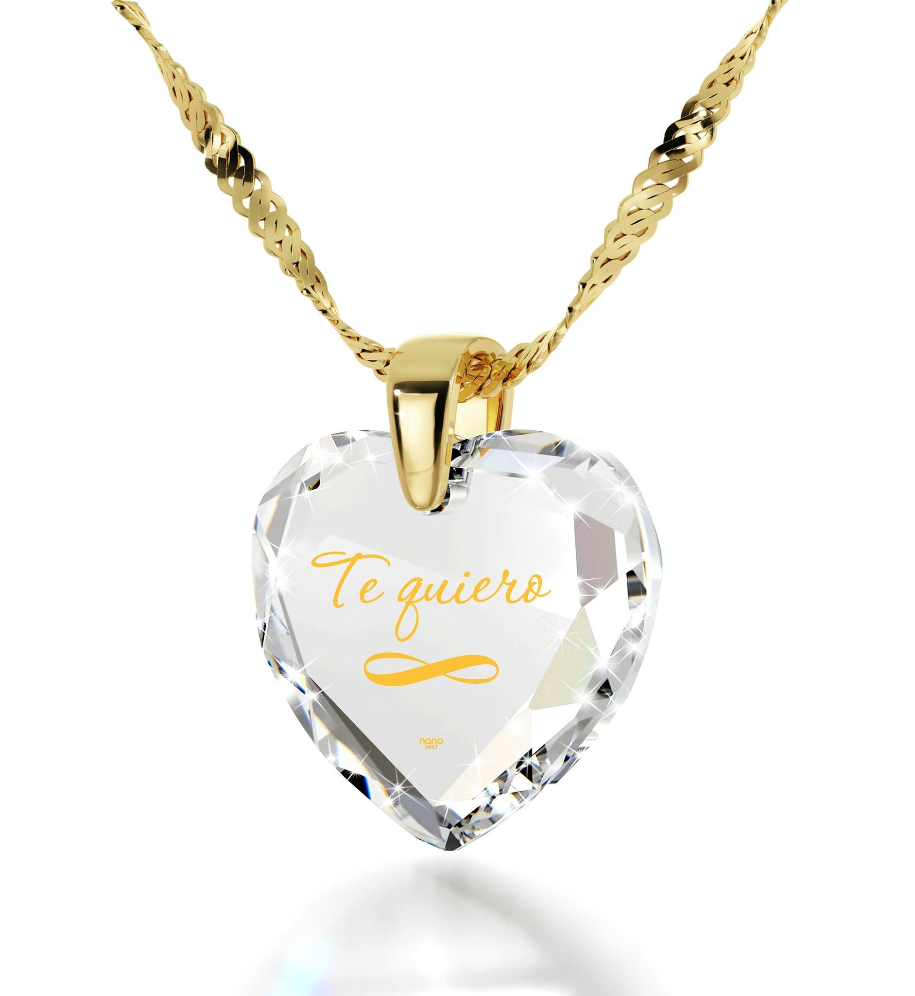 """ValentinesDayPresents,""TeQuiero"",""I Love You"" in Spanish,HeartNecklaceBirthdayPresent for Girlfriend"""