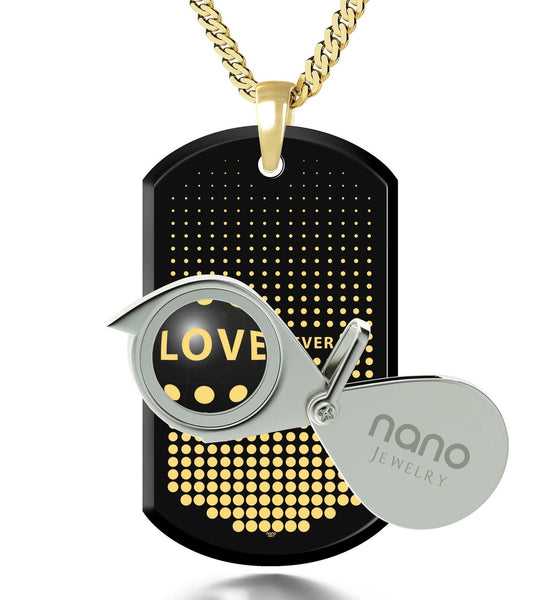 Husband Valentines Gift, Gold Chain with Love Forever Engraved Pendant, What to Get Your Boyfriend for His Birthday