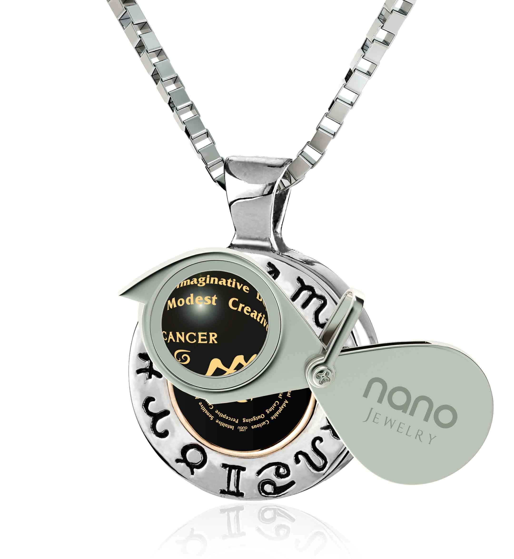 Husband Valentines Gift: Unusual Black Stone Cancer Traits Necklace, Good Presents for Boyfriends