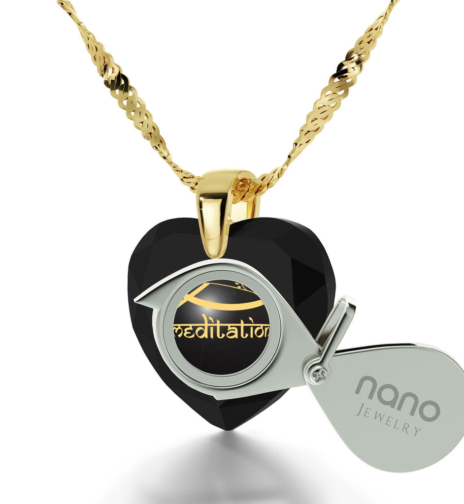 """""I Love Meditation"" Engraved in 24k, BuddhaNecklace with BlackOnyxStone, Gifts for Meditation, HeartNecklaces for Women"""