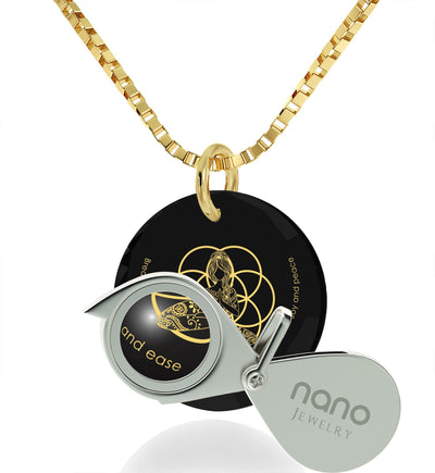 """I Love Meditation"" Engraved in 24k, Buddha Necklace with Black Onyx Stone, Meditation Gifts, Gold Plated Jewellery"