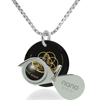 """Breathe in, Breathe out"" Engraved in 24k, Spiritual Necklace with Black Onyx Stone, Gifts for Meditation, Nano Jewelry"