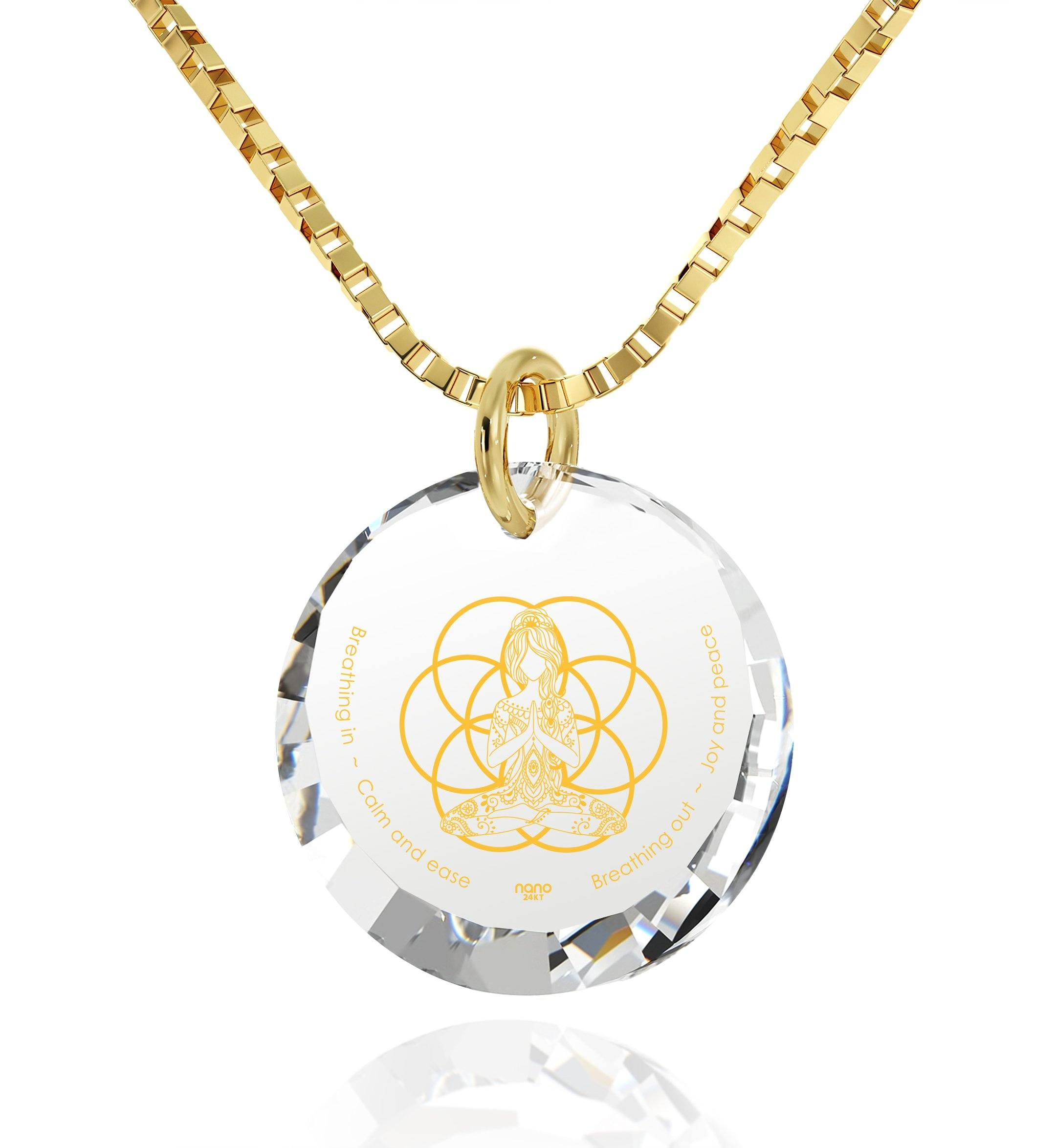 """Breathe in, Breathe out"" Engraved in 24k, Buddha Necklace with CZ Stone, Meditation Gifts, Gold Plated Jewellery"