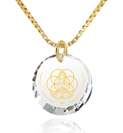 """I Love Meditation"" Engraved in 24k, Buddha Necklace with CZ Stone, Meditation Gifts, Gold Plated Jewellery"