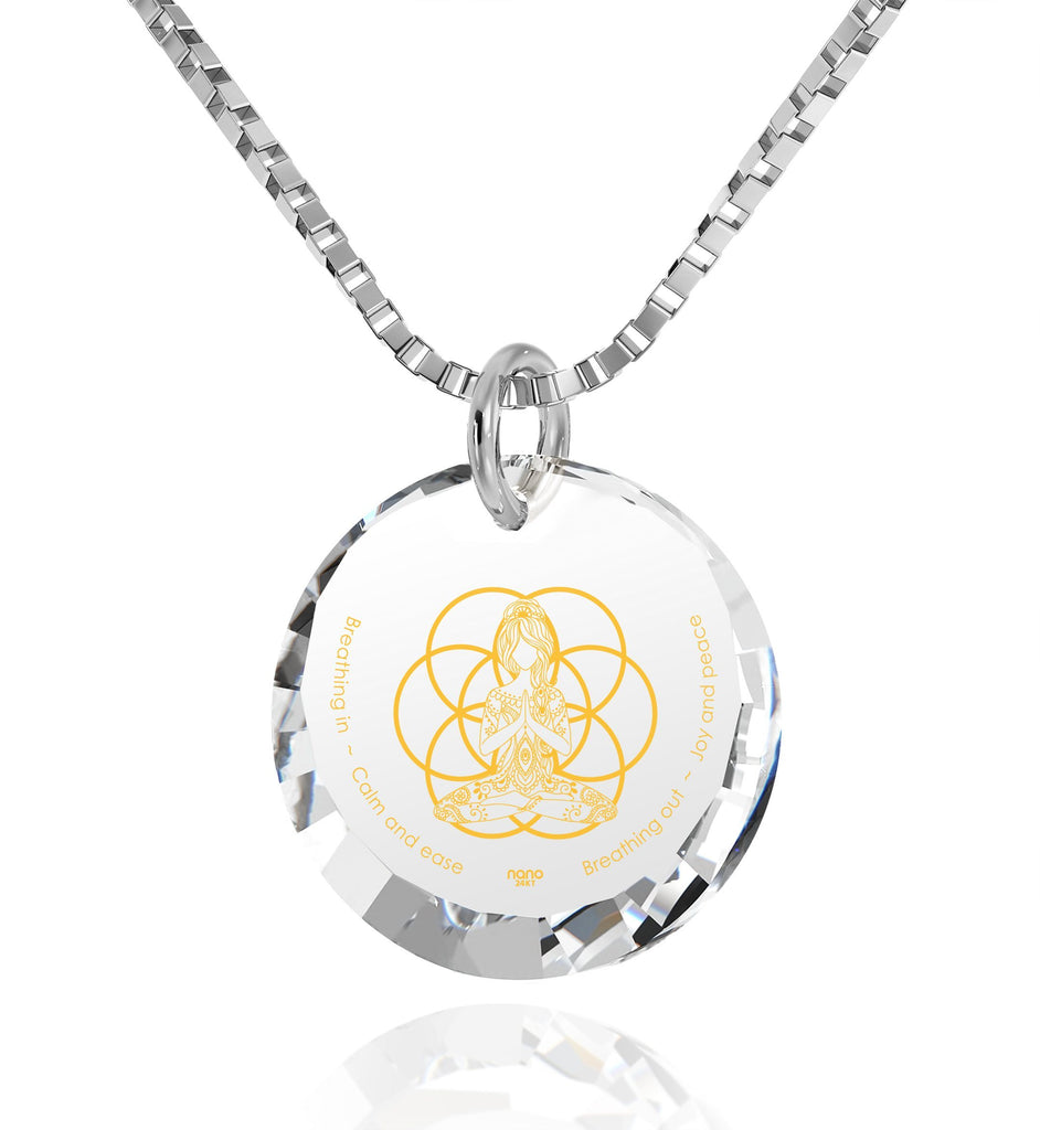 """Breathe in, Breathe out"" Engraved in 24k, Buddha Necklace with CZ Stone, Meditation Gifts, Sterling Silver Jewellery"