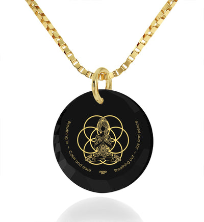 """I Love Meditation"" Engraved in 24k, Buddhist Jewellery with Black Onyx Stone, Gifts for Meditation, Nano Jewelry"