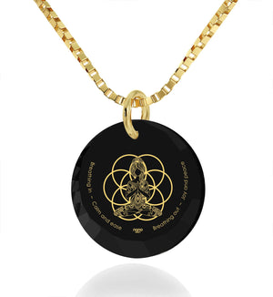 """Breathe in, Breathe out"" Engraved in 24k, Spiritual Jewelry with Black Onyx Stone, Meditation Gifts, Nano Jewelry"