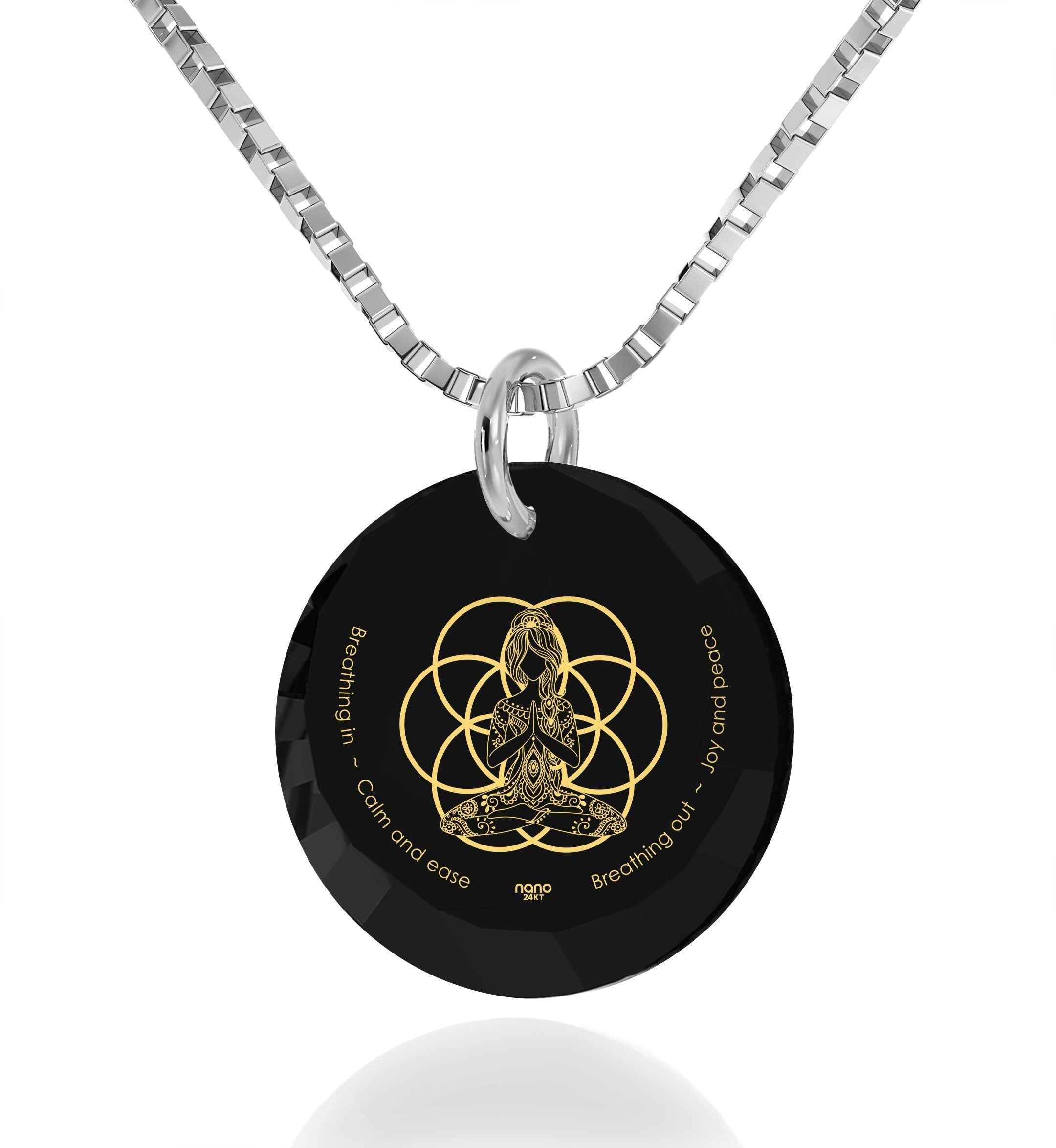 """Breathe in, Breathe out"" Engraved in 24k, Buddhist Jewellery with Black Onyx Stone, Gifts for Meditation, Nano Jewelry"