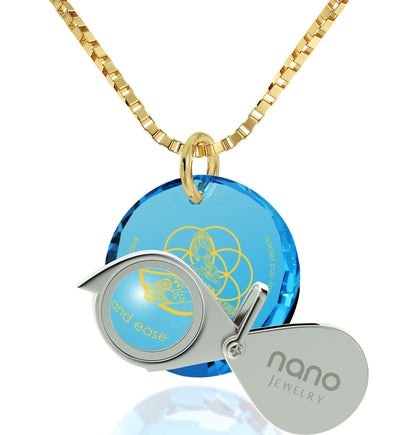 """I Love Meditation"" Engraved in 24k, Buddhist Jewellery with Blue Topaz Stone, Gifts for Meditation, Diamond Circle Necklace"