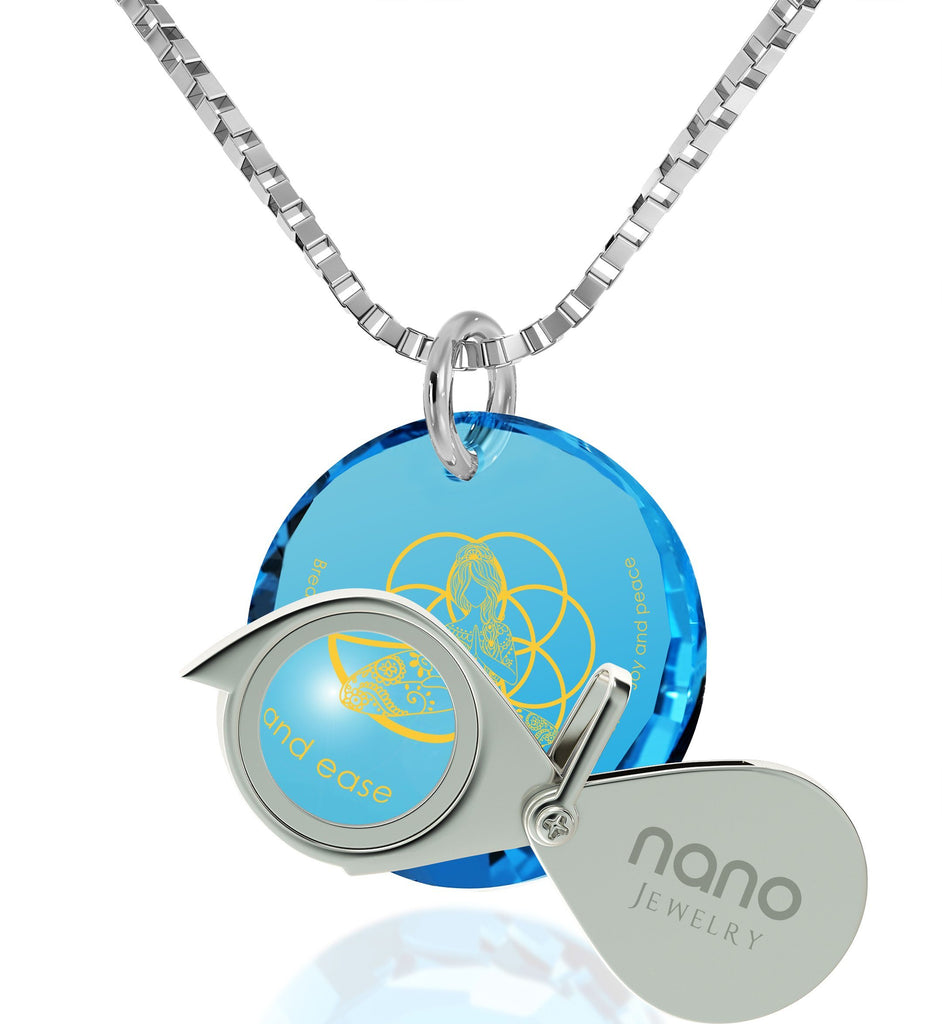 """Breathe in, Breathe out"" Engraved in 24k, Buddhist Jewellery with Blue Topaz Stone, Gifts for Meditation, Diamond Circle Necklace"