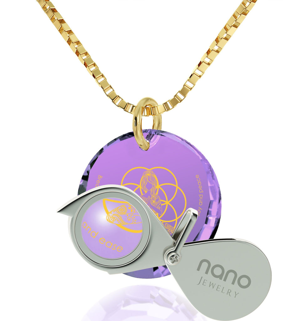 """Breathe in, Breathe out"" Engraved in 24k, Buddhist Store with Amethyst Jewelry, Spiritual Necklaces, Nano Jewelry"