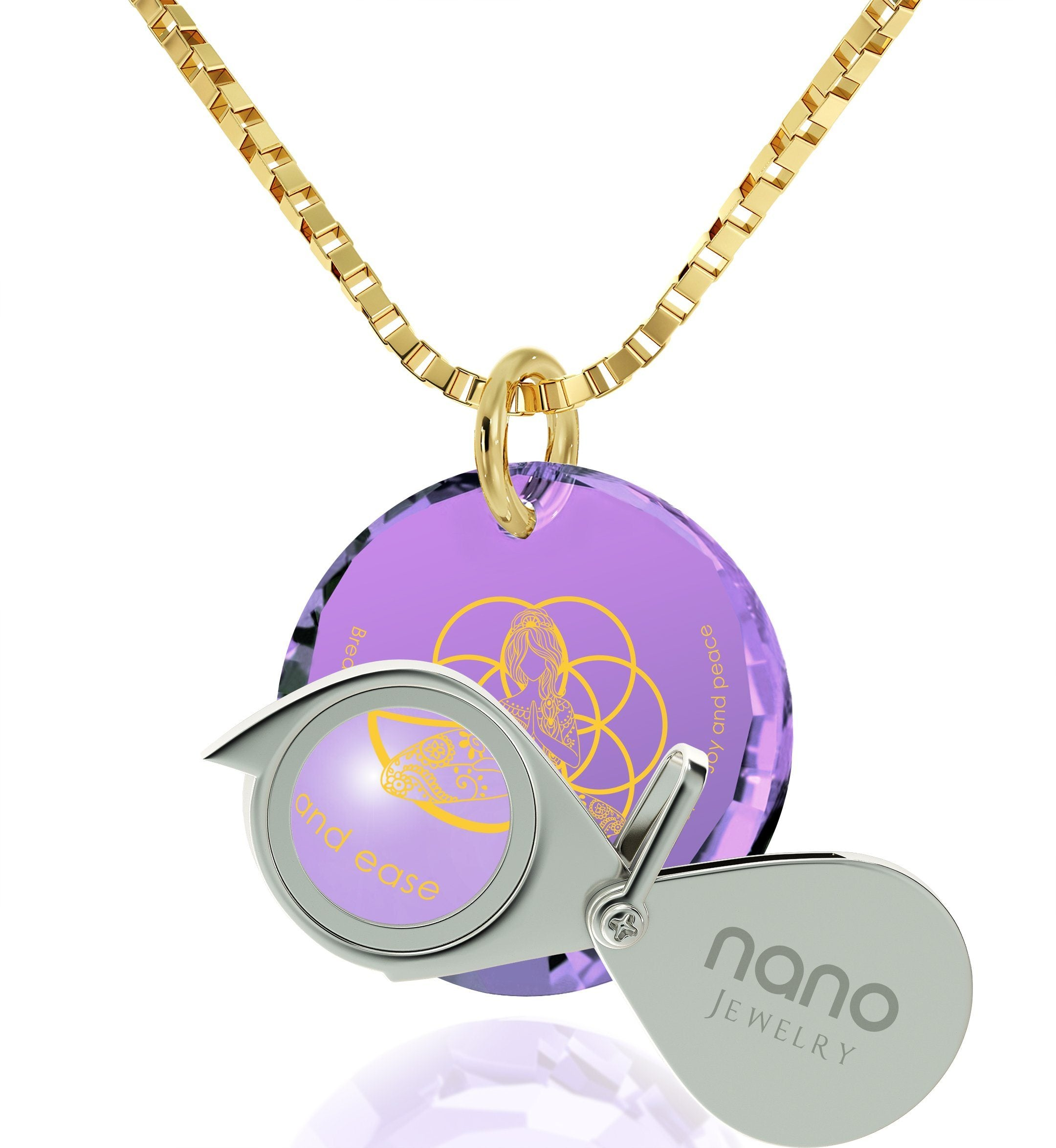 """Breathe in, Breathe out"" Engraved in 24k, Meditation Jewelry with Purple Stone, Spiritual Shop, Nano Jewelry"