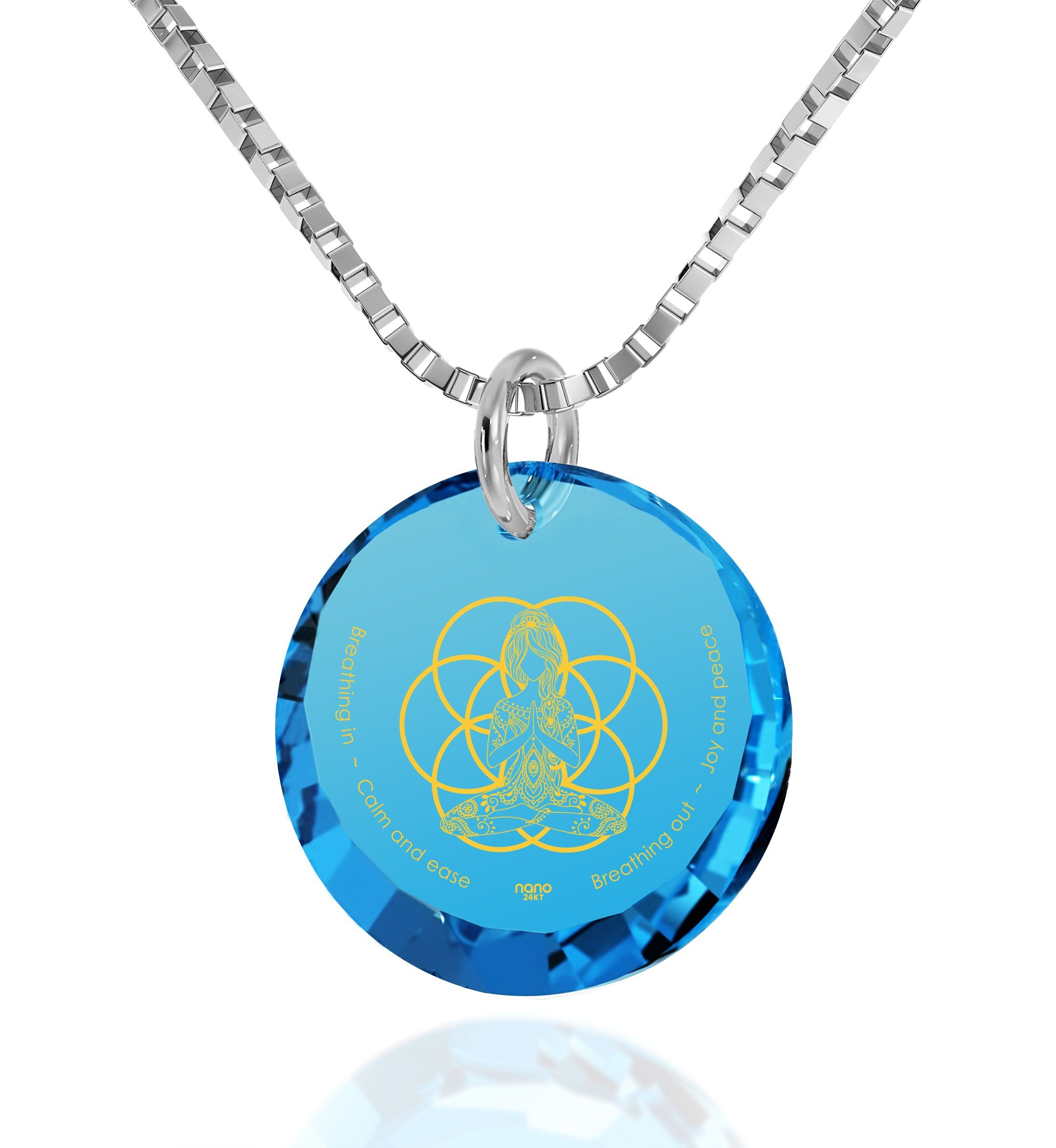 """Breathe in, Breathe out"" Engraved in 24k, Buddhist Store with Blue Topaz Jewelry, Spiritual Necklaces, Nano Jewelry"