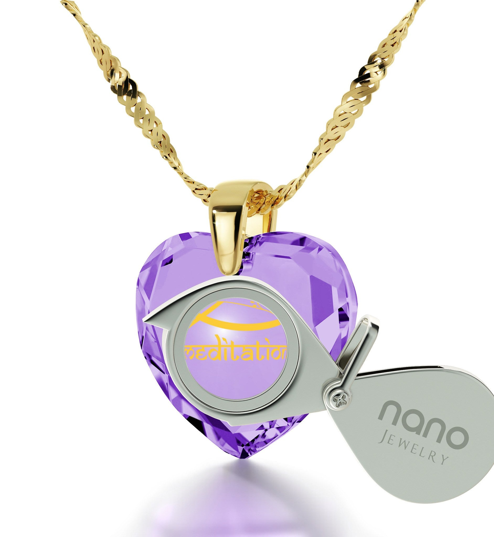 """""I Love Meditation"" Engraved in 24k, BuddhistStore with PurpleStone Necklaces, ReligiousJewelry for Women, NanoJewelry"""
