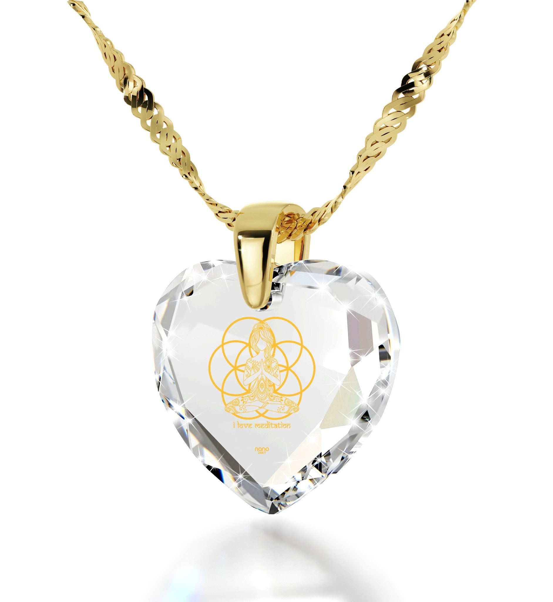 """""I Love Meditation"" Engraved in 24k, BuddhistStore with SwarovskiCrystalJewelry, BuddhistJewellery, HeartShapedNecklace"""