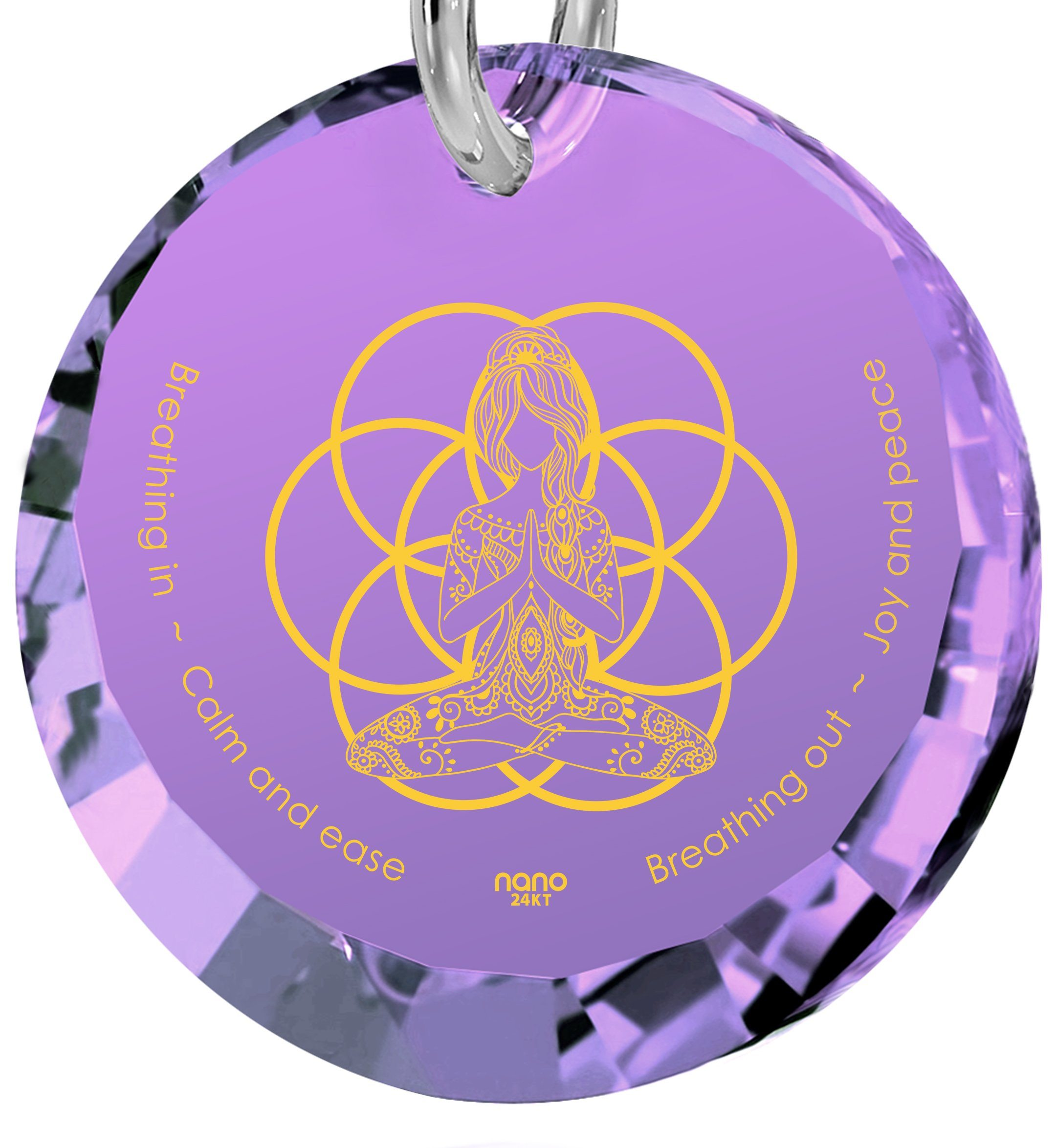 """Breathe in, Breathe out"" Engraved in 24k, Meditation Jewelry with Amethyst Pendant, Buddha Gifts, Nano Jewelry"