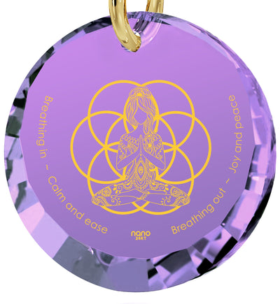 """I Love Meditation"" Engraved in 24k, Meditation Jewelry with Amethyst Pendant, Buddha Gifts, Nano Jewelry"