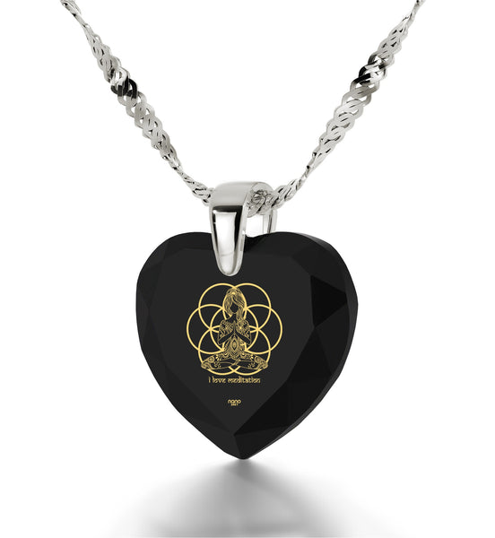 """""I Love Meditation"" Engravedin24k, BuddhaNecklacewithBlackOnyxStone, Gifts for Meditation, HeartNecklaces for Women"""
