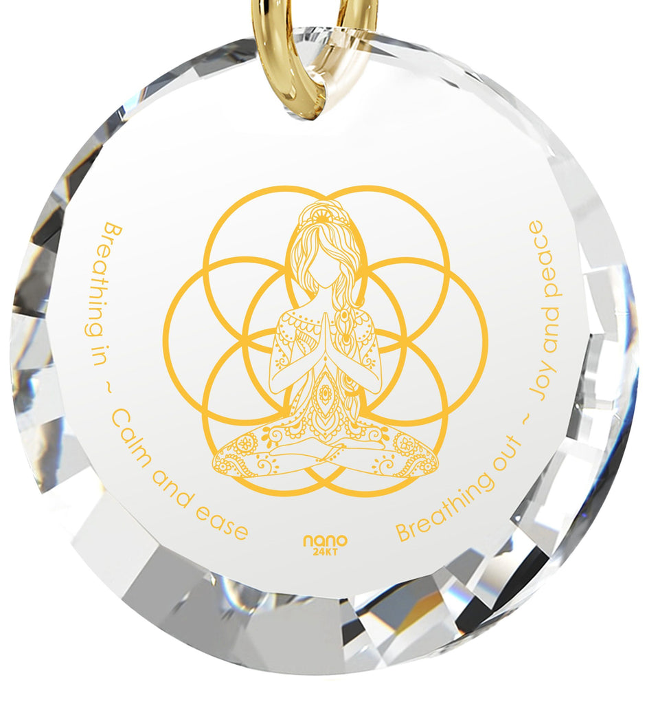 """Breathe in, Breathe out"" Engraved in 24k, Meditation Jewelry with Crystal Stone Pendant, Buddha Gifts, Diamond Circle Necklace"