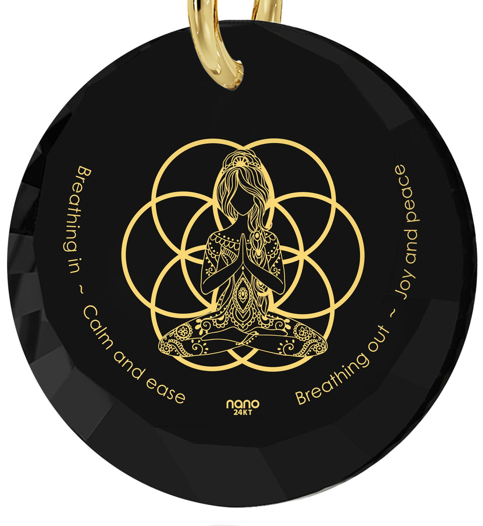 """Breathe in, Breathe out"" Engraved in 24k, Meditation Necklace with Black Onyx Pendant, Spiritual Store, Nano Jewelry"