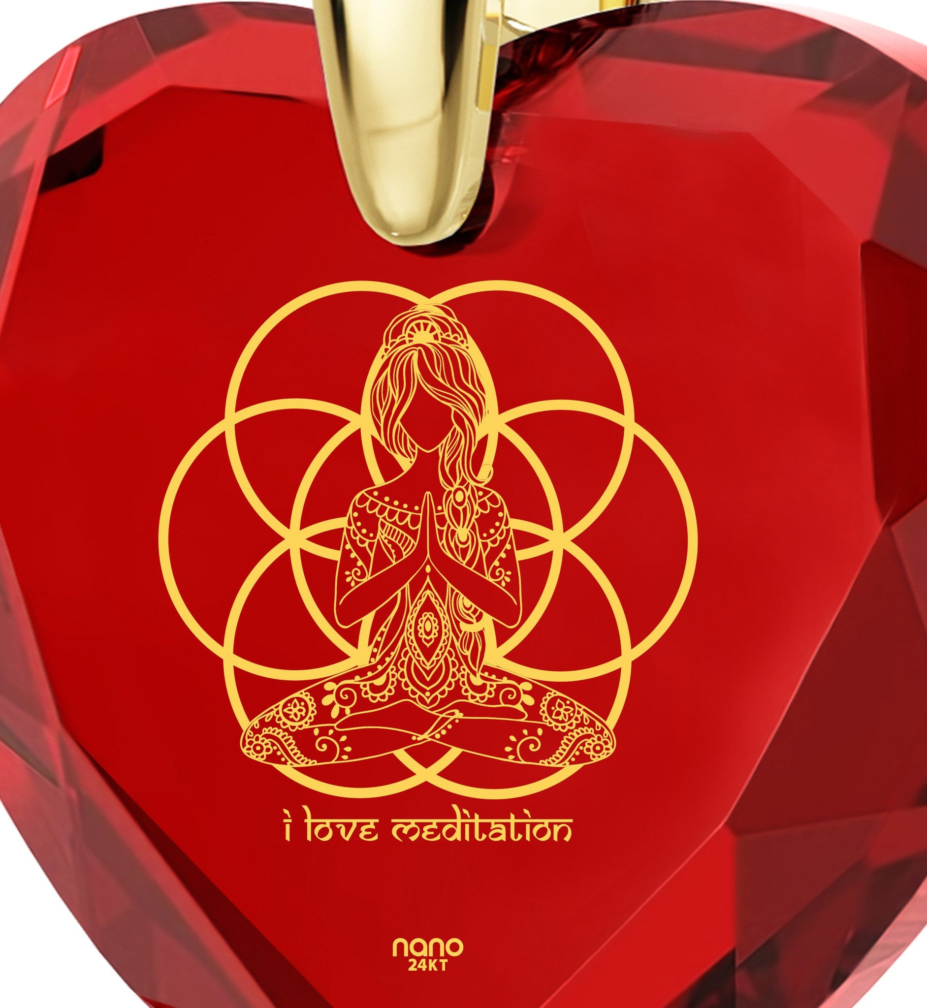 """""I Love Meditation"" Engraved in 24k, BuddhaJewelry with RubyStone, MeditationGifts, RedHeartNecklace"""