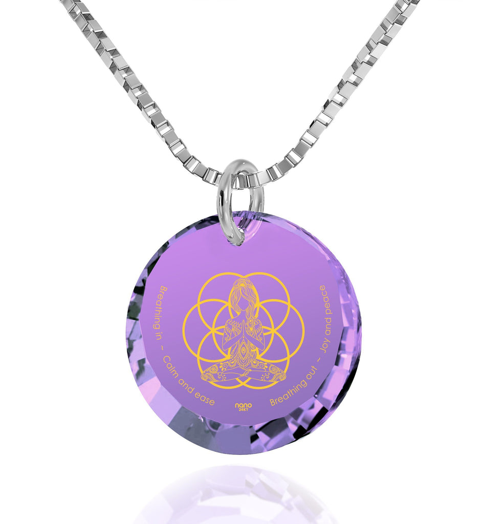 """Breathe in, Breathe out"" Engraved in 24k, Meditation Necklace with Amethyst Stone, Buddha Gifts, Nano Jewelry"