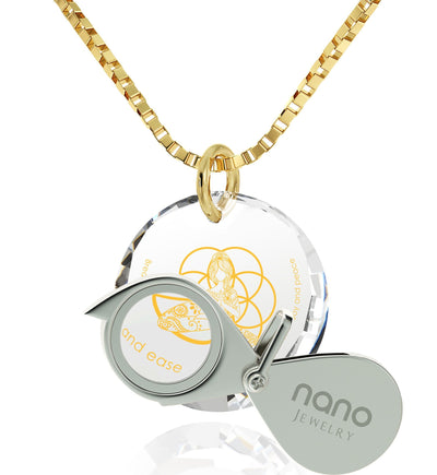 """I Love Meditation"" Engraved in 24k, Spiritual Jewelry with CZ Stone, Religious Gifts for Women, Nano Jewelry"