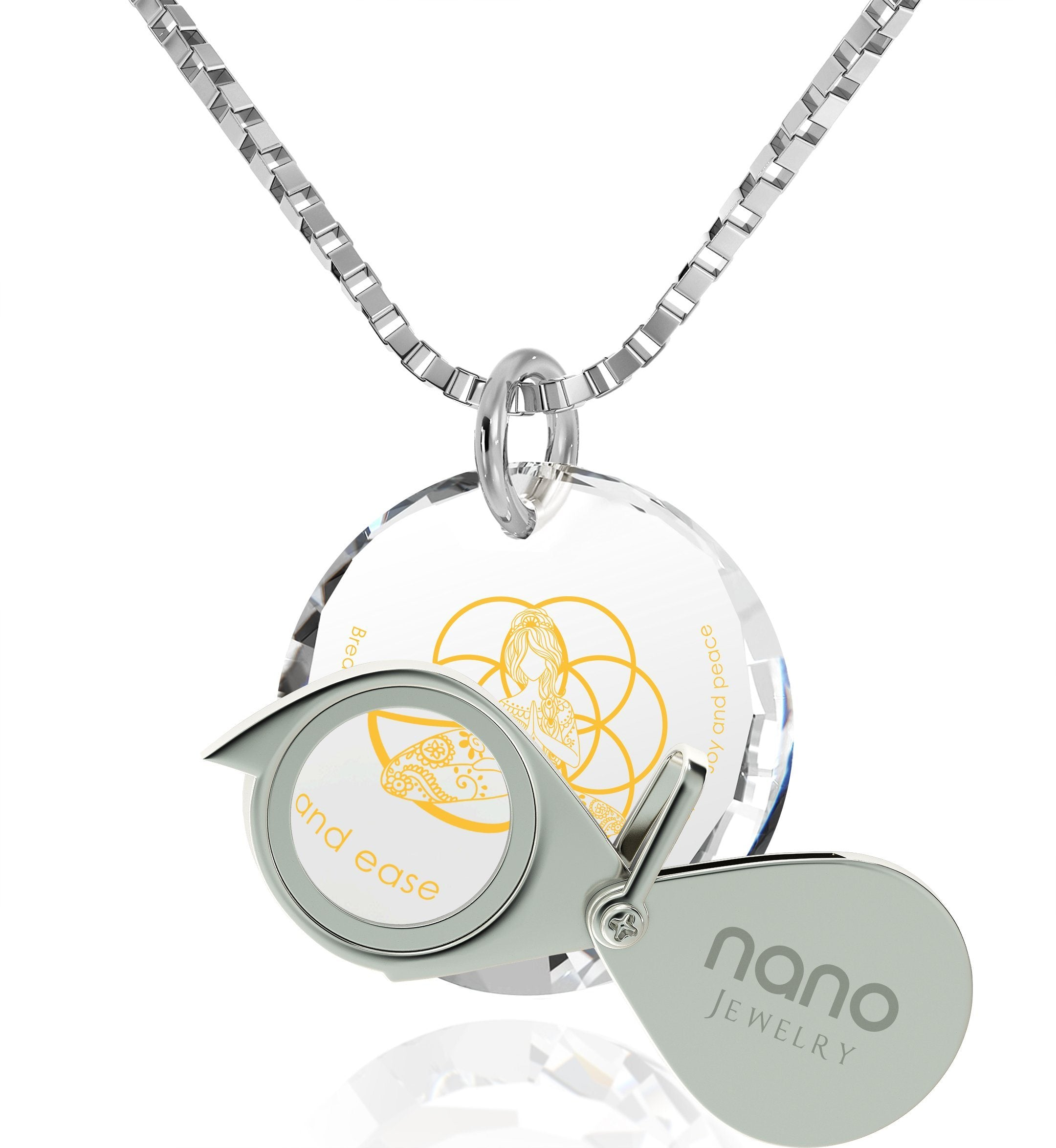 """Breathe in, Breathe out"" Engraved in 24k, Spiritual Jewelry with CZ Stone, Religious Gifts for Women, Nano Jewelry"