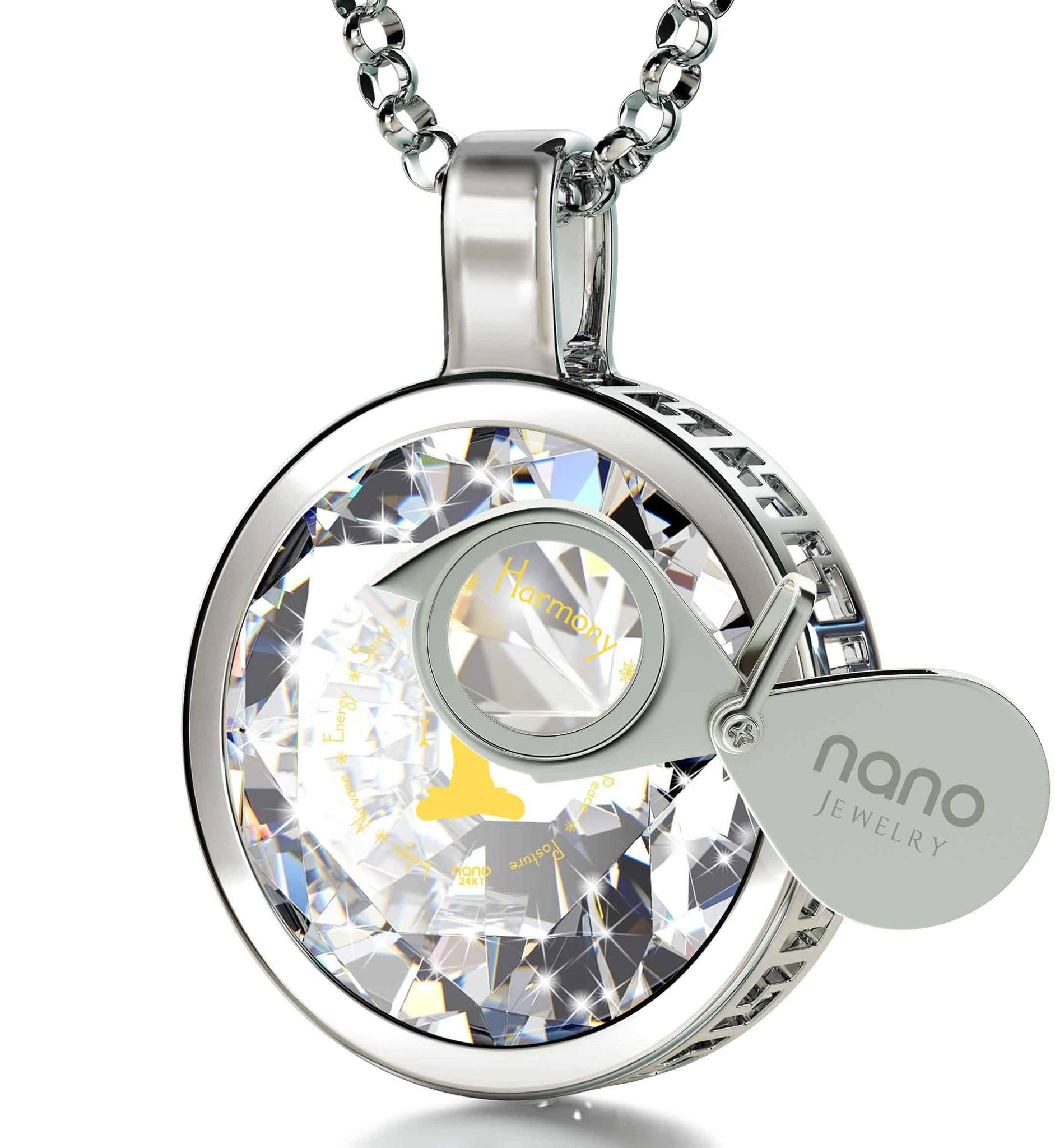 """I Love Yoga"" Engraved in 24k: Birthday Present for Best Friend, Best Xmas Gift for Wife by Nano Jewelry"