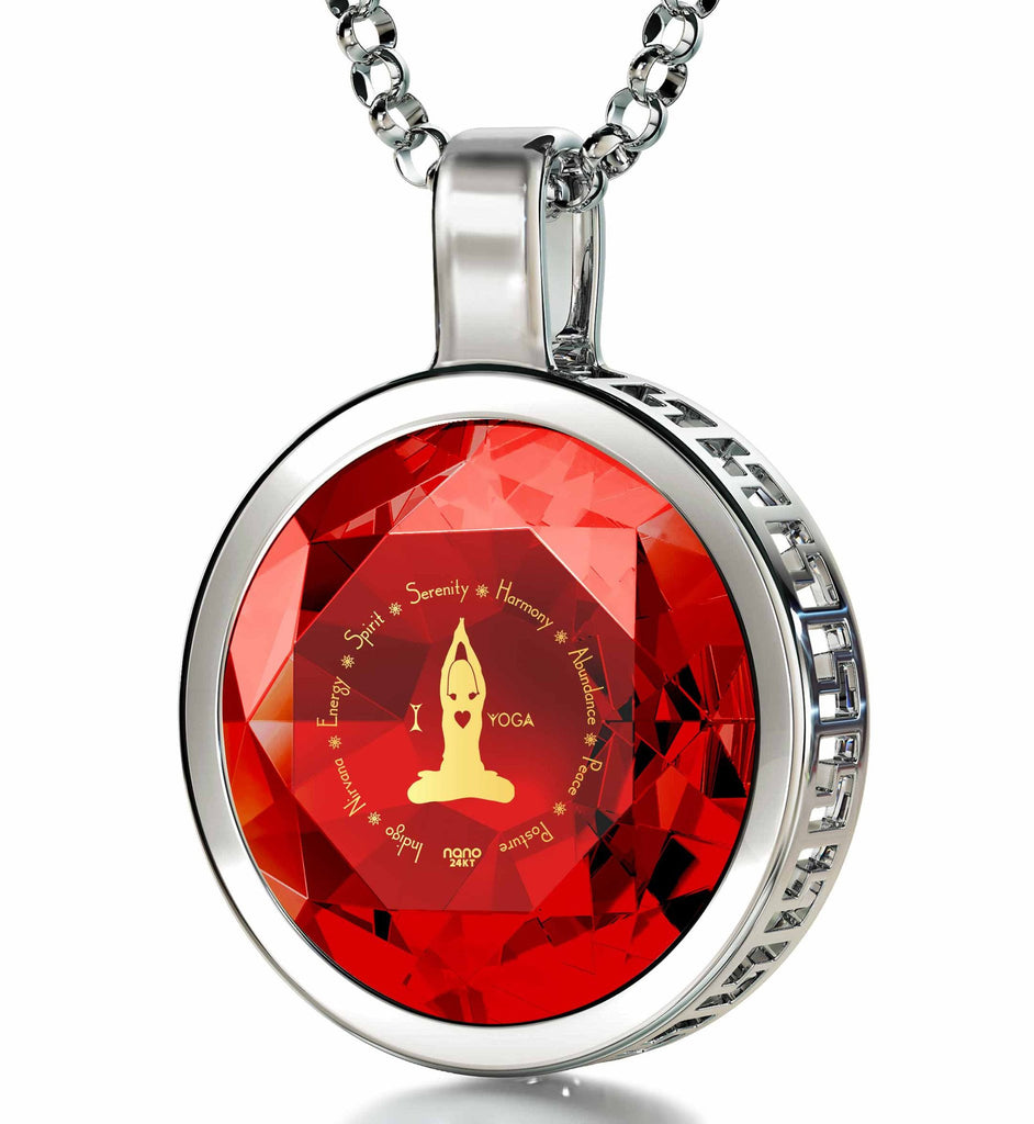 """I Love Yoga"" Engraved in 24k: Birthday Present for Best Friend, Best Xmas Gift for Wife, Red Stone Necklace"