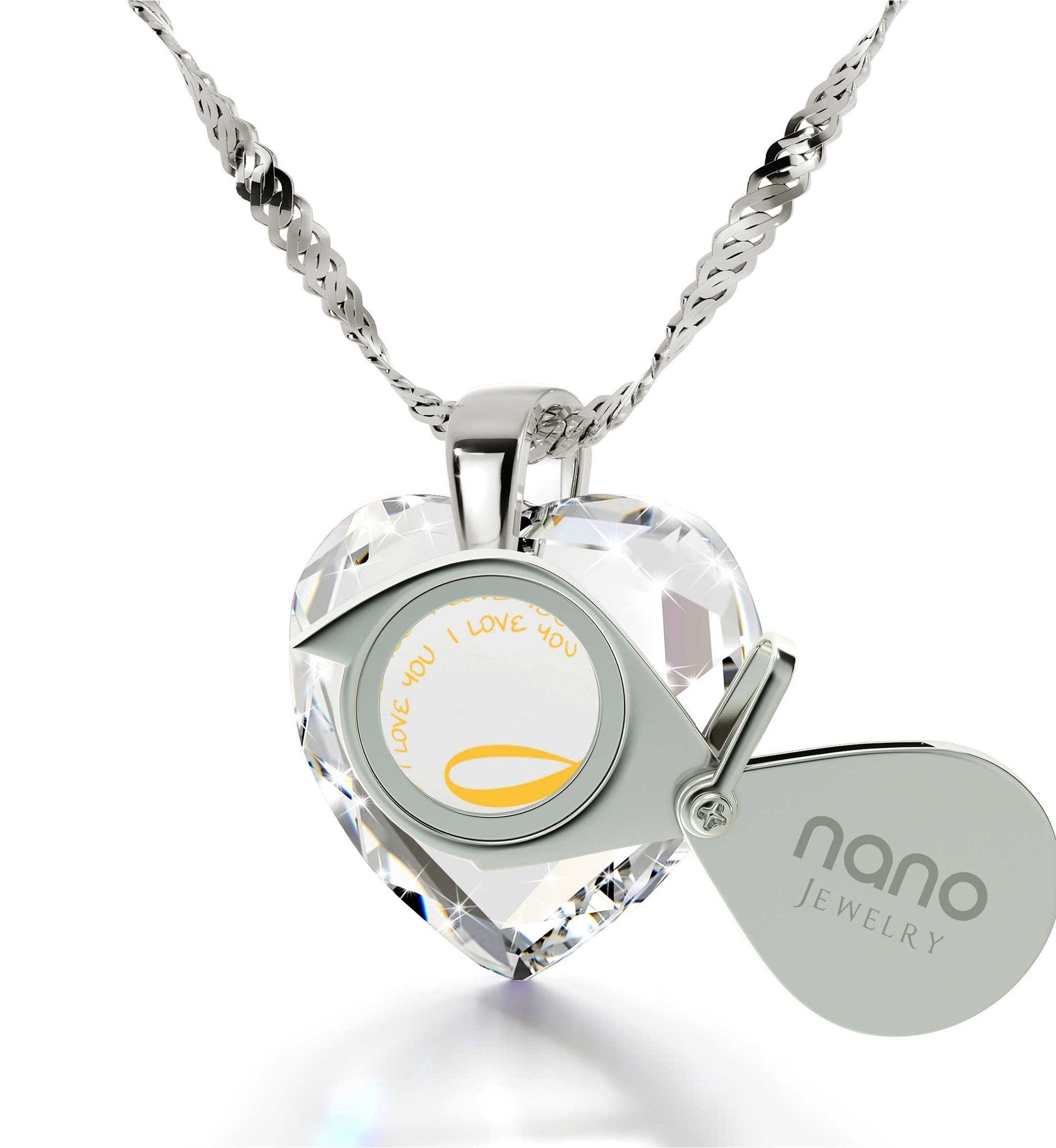 """I Love You"" Forever Necklace, Crystal CZ Jewelry, Best Valentine's Day Gift for Her, by Nano Jewelry"