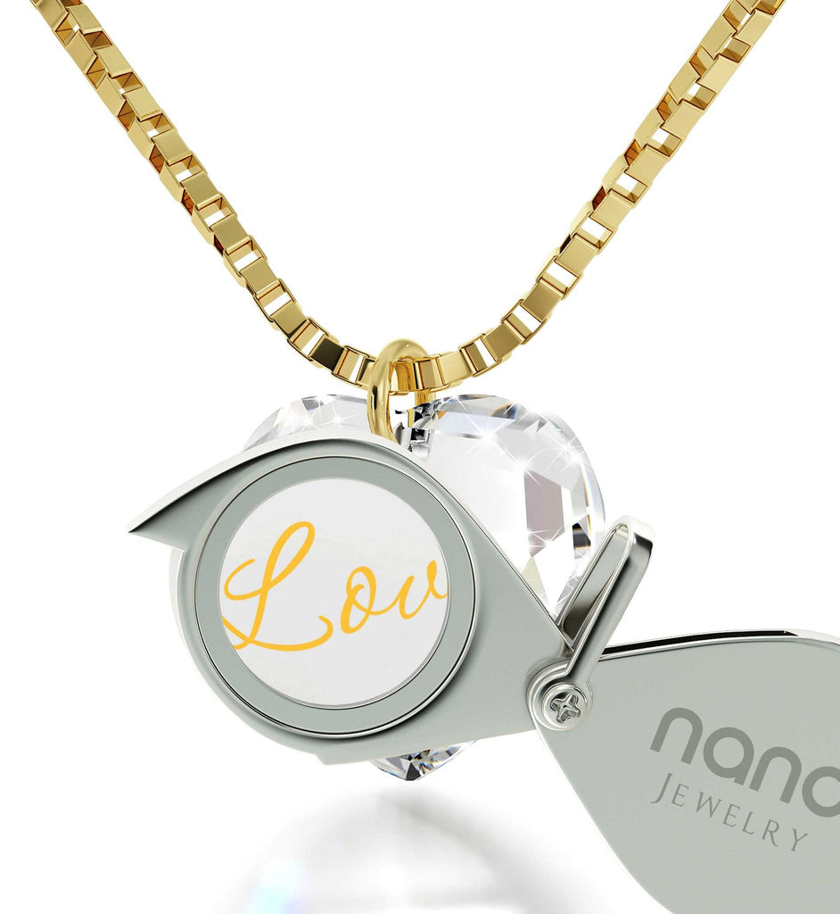 """I Love You"" in 24k Gold, Top Gift Ideas for Women, Valentines Suprises for Her, Nano Jewelry"