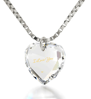 """I Love You"" in 24k Gold, Wife Birthday Ideas, Heart Necklaces for Girlfriend, Swarovksi Crystal Jewelry, Nano"