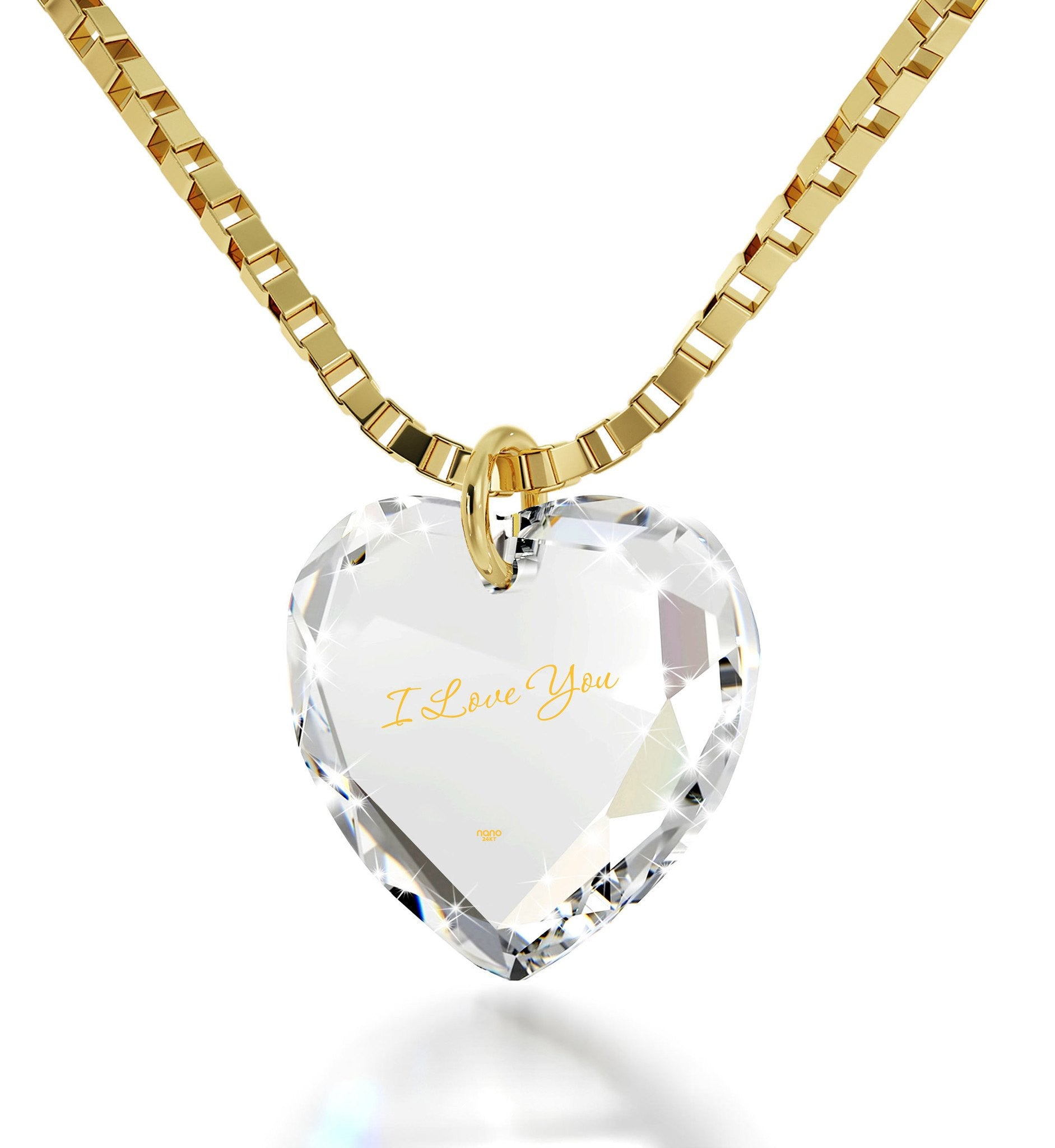 """I Love You""in 24k Gold, Wife Birthday Ideas, Pure Romance Products, Fine Gold Jewelry, Nano"