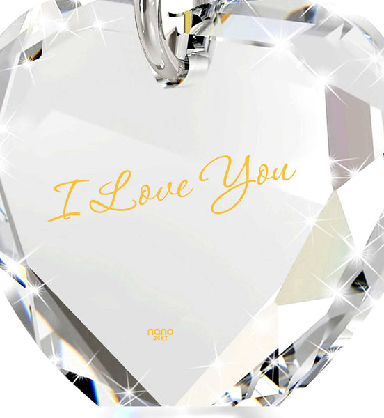 """I Love You"" in 24k Gold, Great Valentines Gifts for Her, Womens Presents, Nano Jewelry"