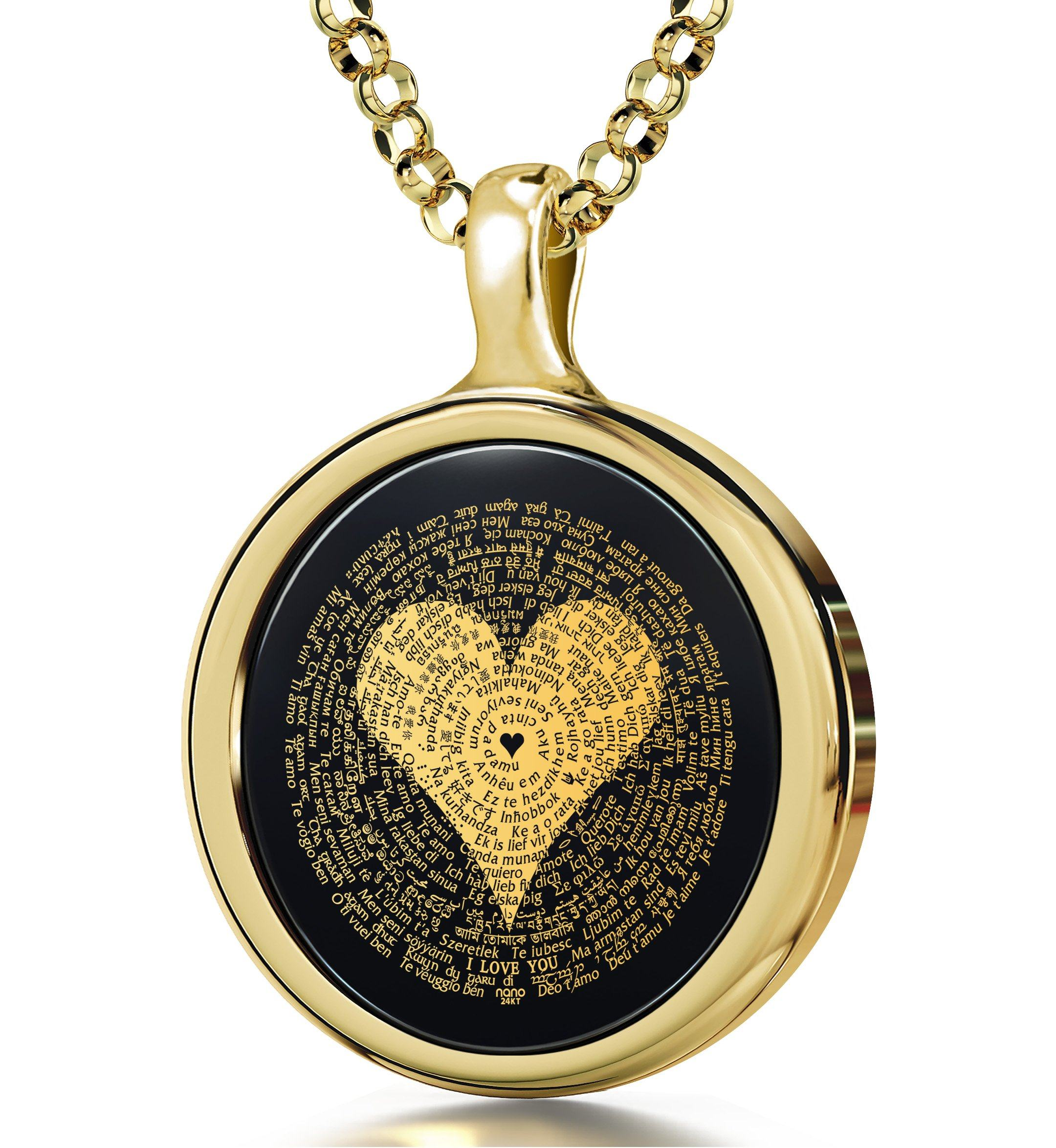 "$500 Gift Ideas for Her: ""I Love You"" in 120 Languages - Round Plain - 14K Gold - Nano Jewelry"