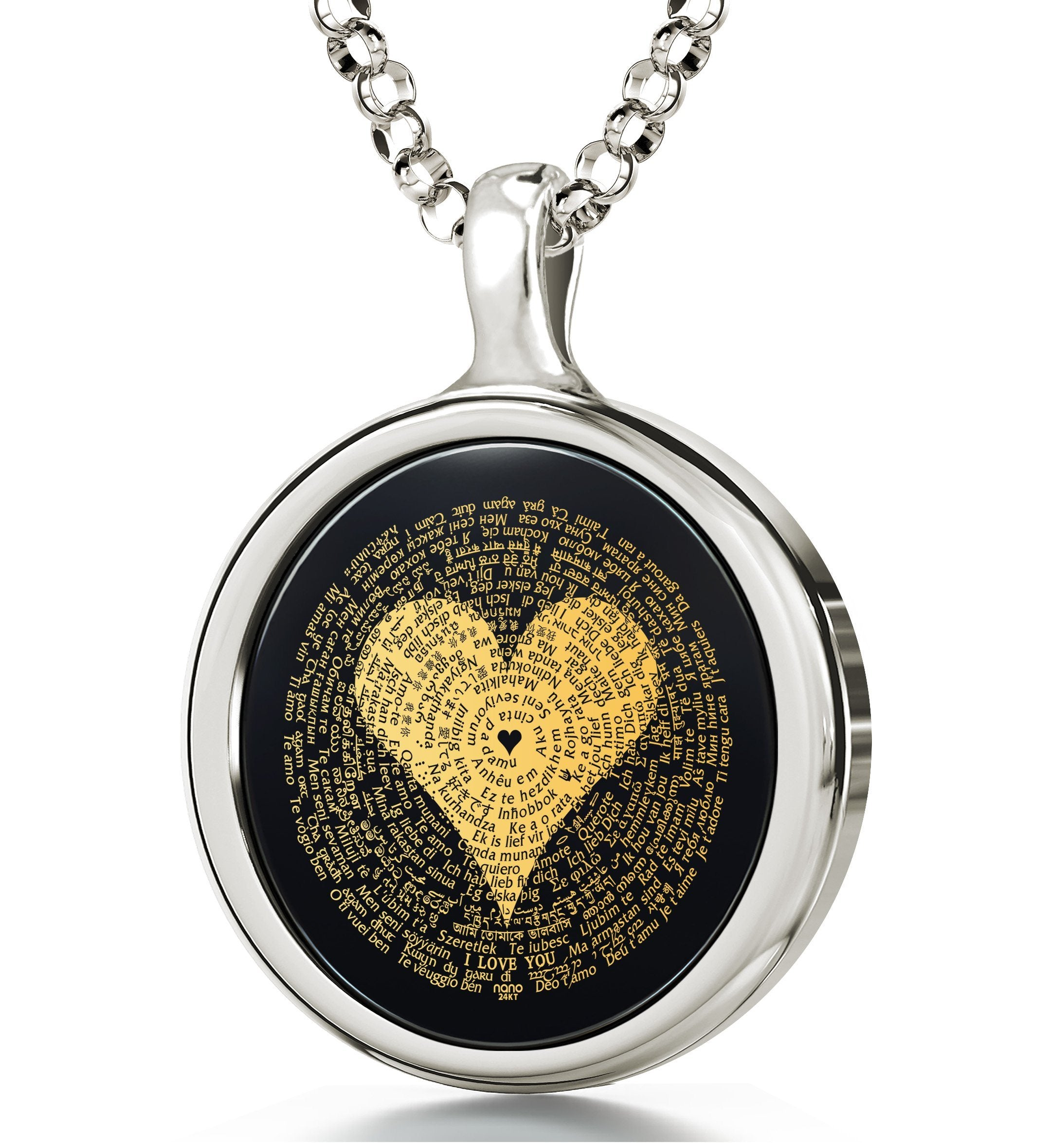 "Valentine Necklace for Her: ""I Love You"" in Different Languages, Nano Jewelry"